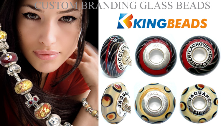 custom branding glass beads